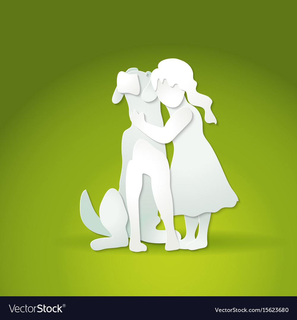 Small girl hugging big dog vector image