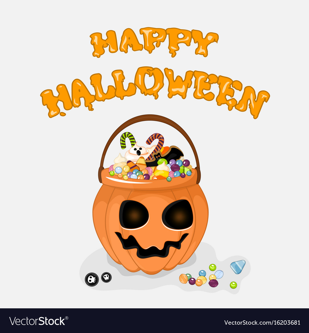 Happy halloween background with text for vector image