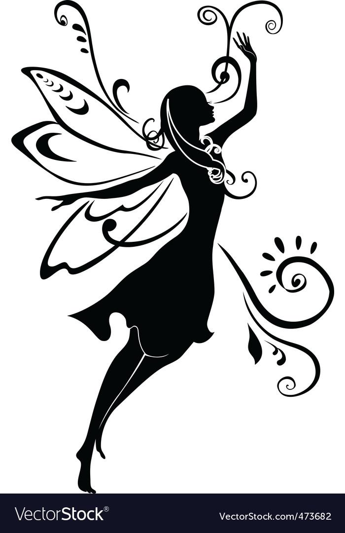 Fairy silhouette vector image