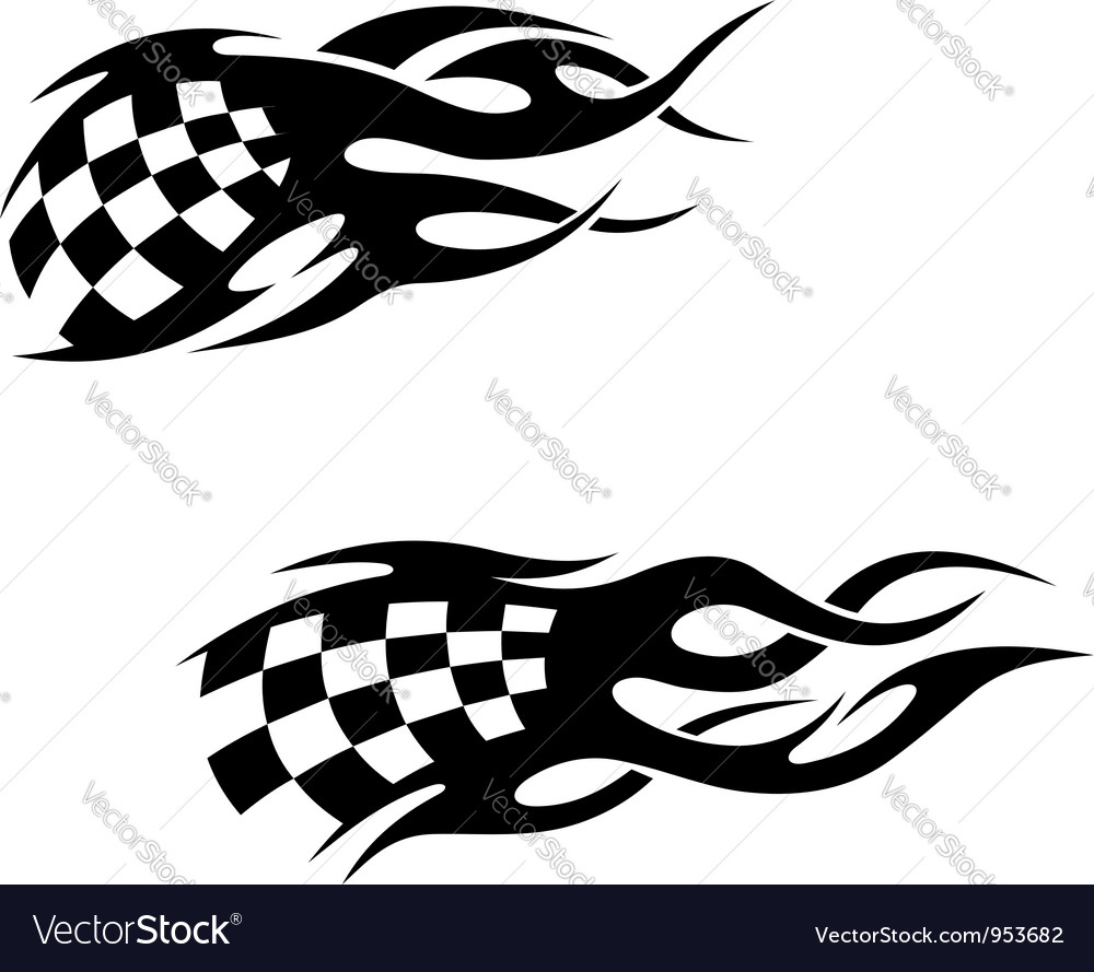 Tattoos with checkered flags vector image