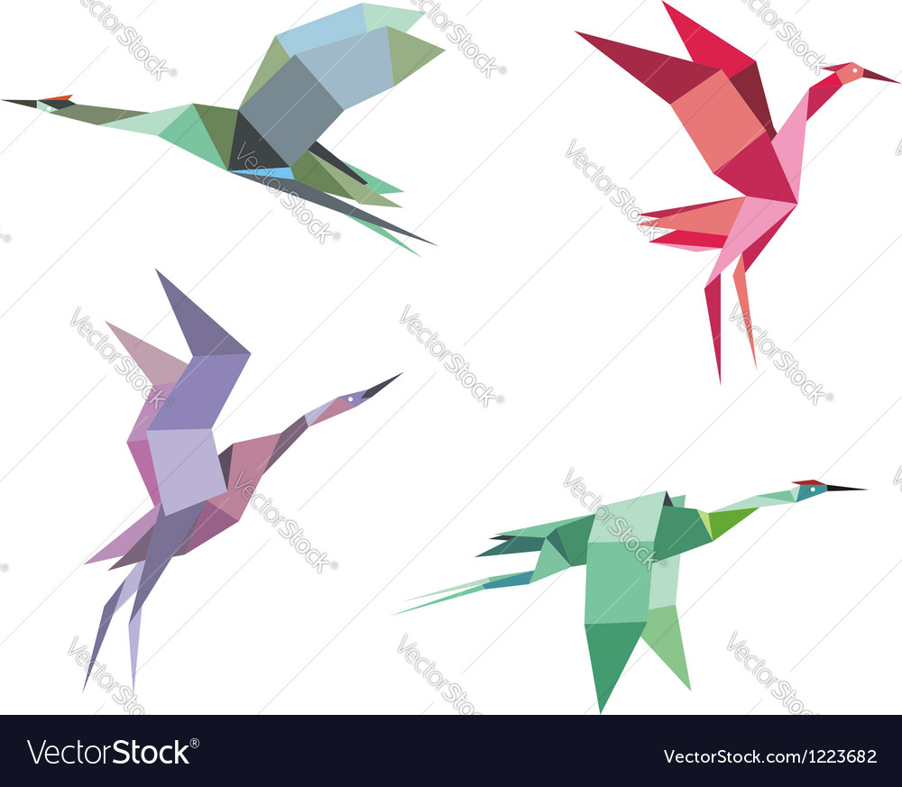 Cranes and herons vector image