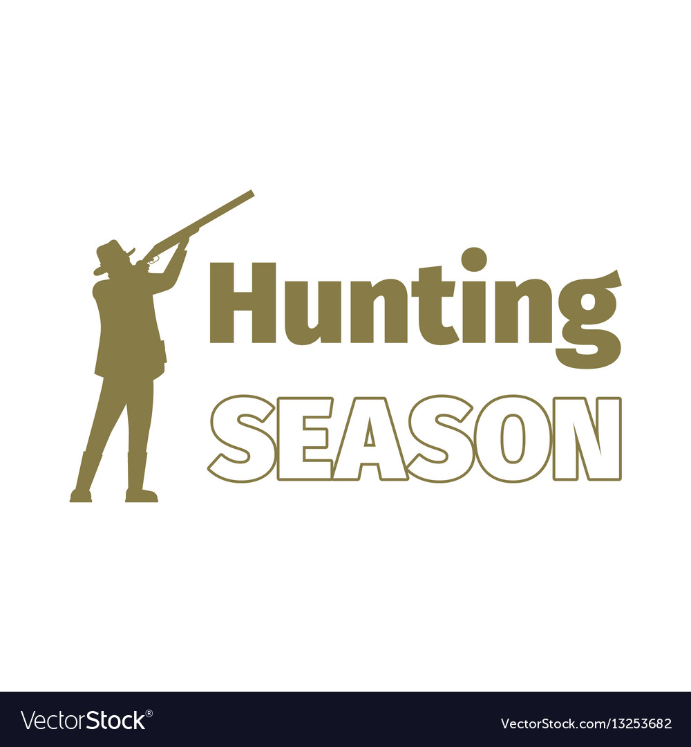 Hunting season logo template with man vector image