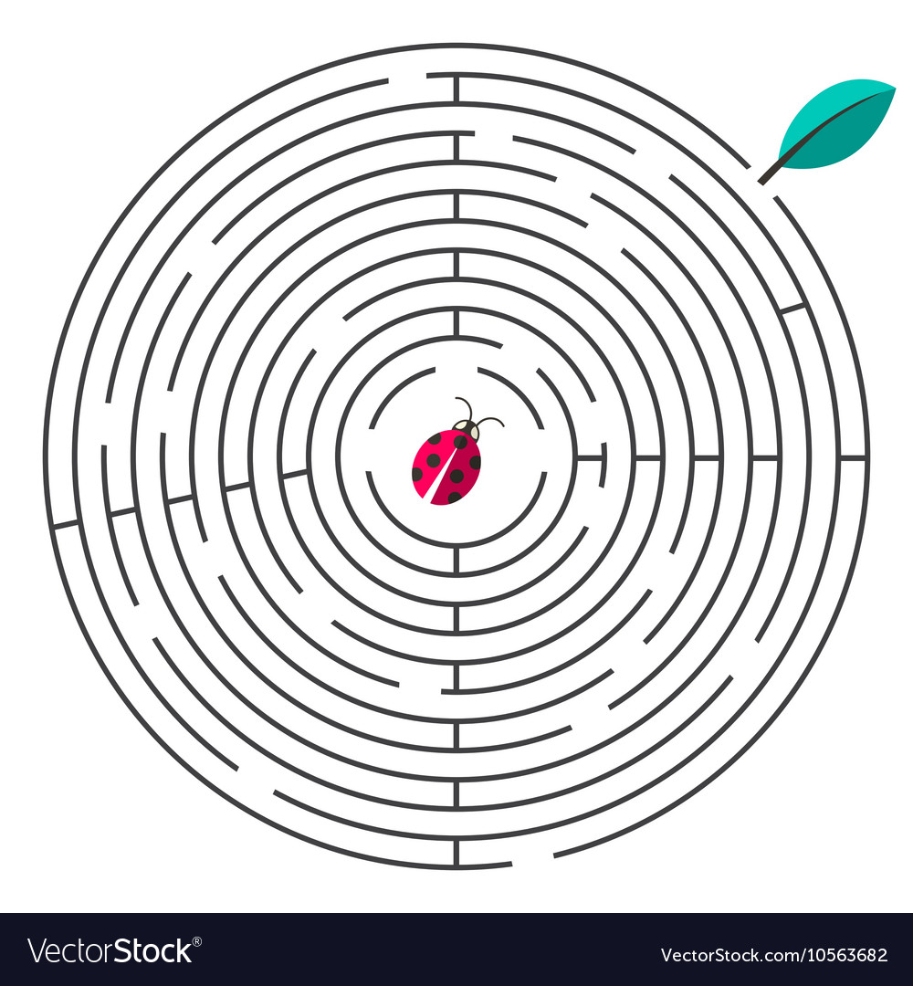 Maze Circle Maze with Ladybug and Leaf on W vector image