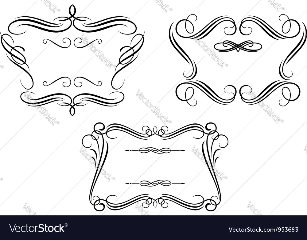 Retro frames set with decorative and calligraphic vector image