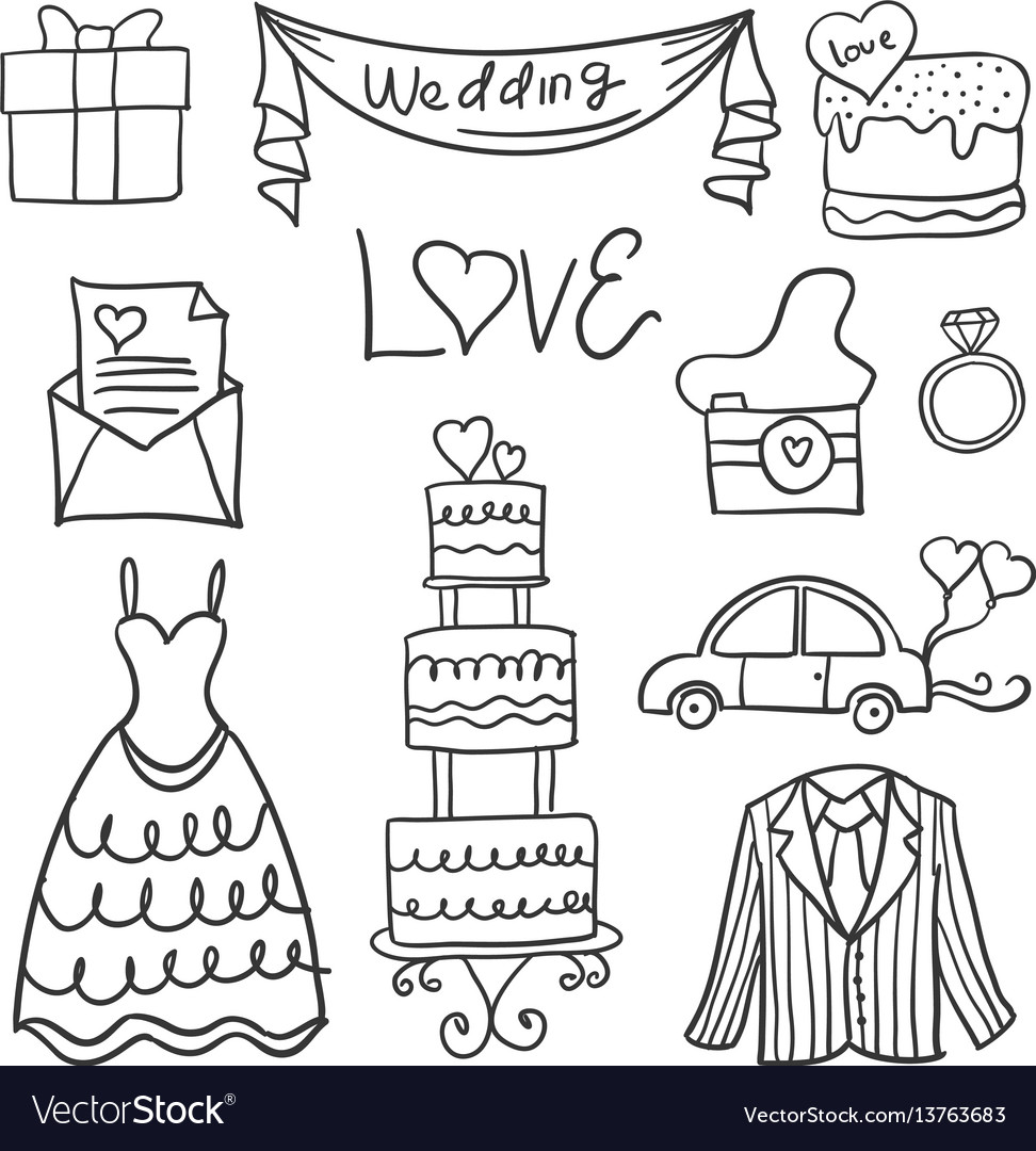 Collection of wedding element in doodle style vector image