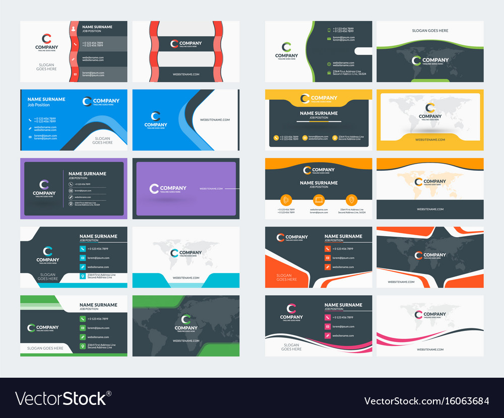 Double sided business card templates stationery Vector Image