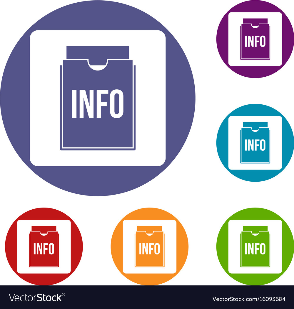Info folder icons set vector image