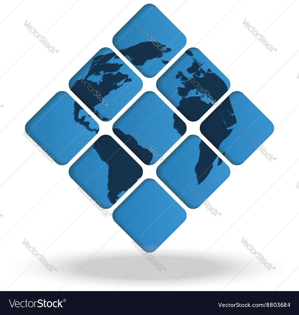 Map of world inside nine squares royalty free vector image map of world inside nine squares vector image gumiabroncs Images