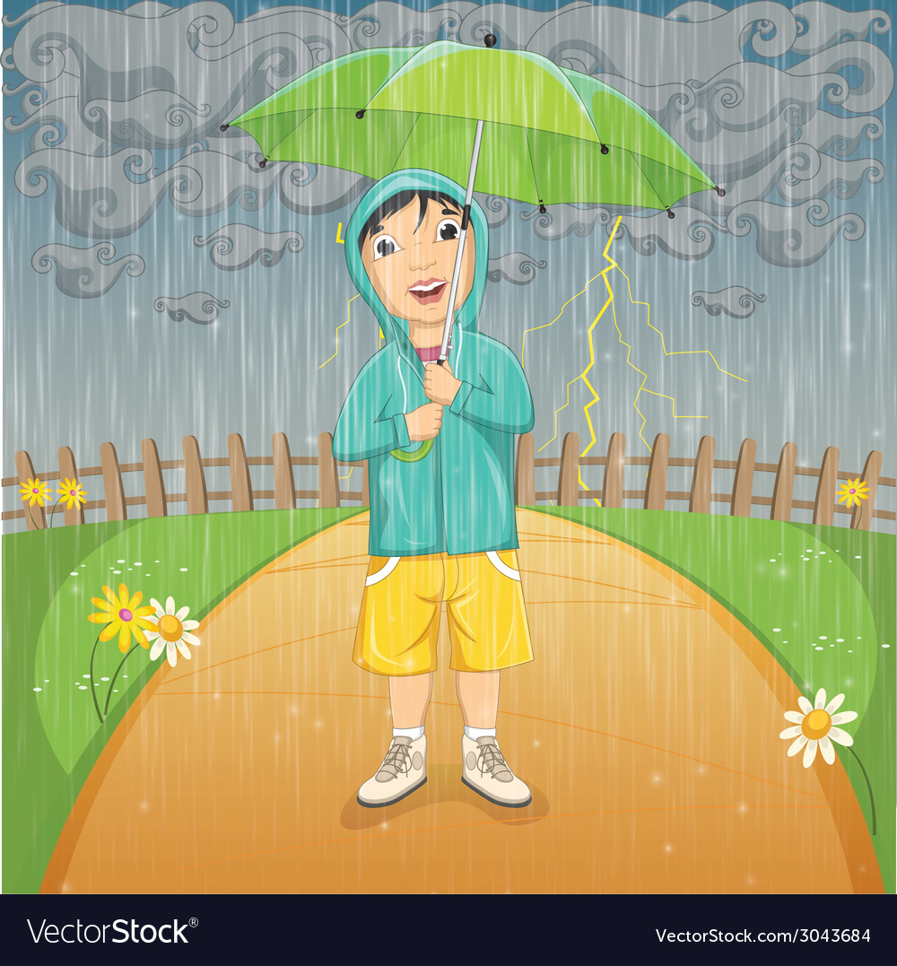 of a little boy under umbrella royalty free vector image