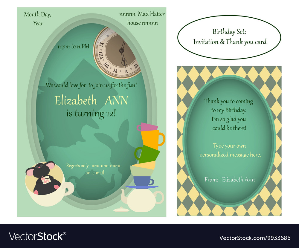 Alice in Wonderland Mad tea party Birthday Invite vector image