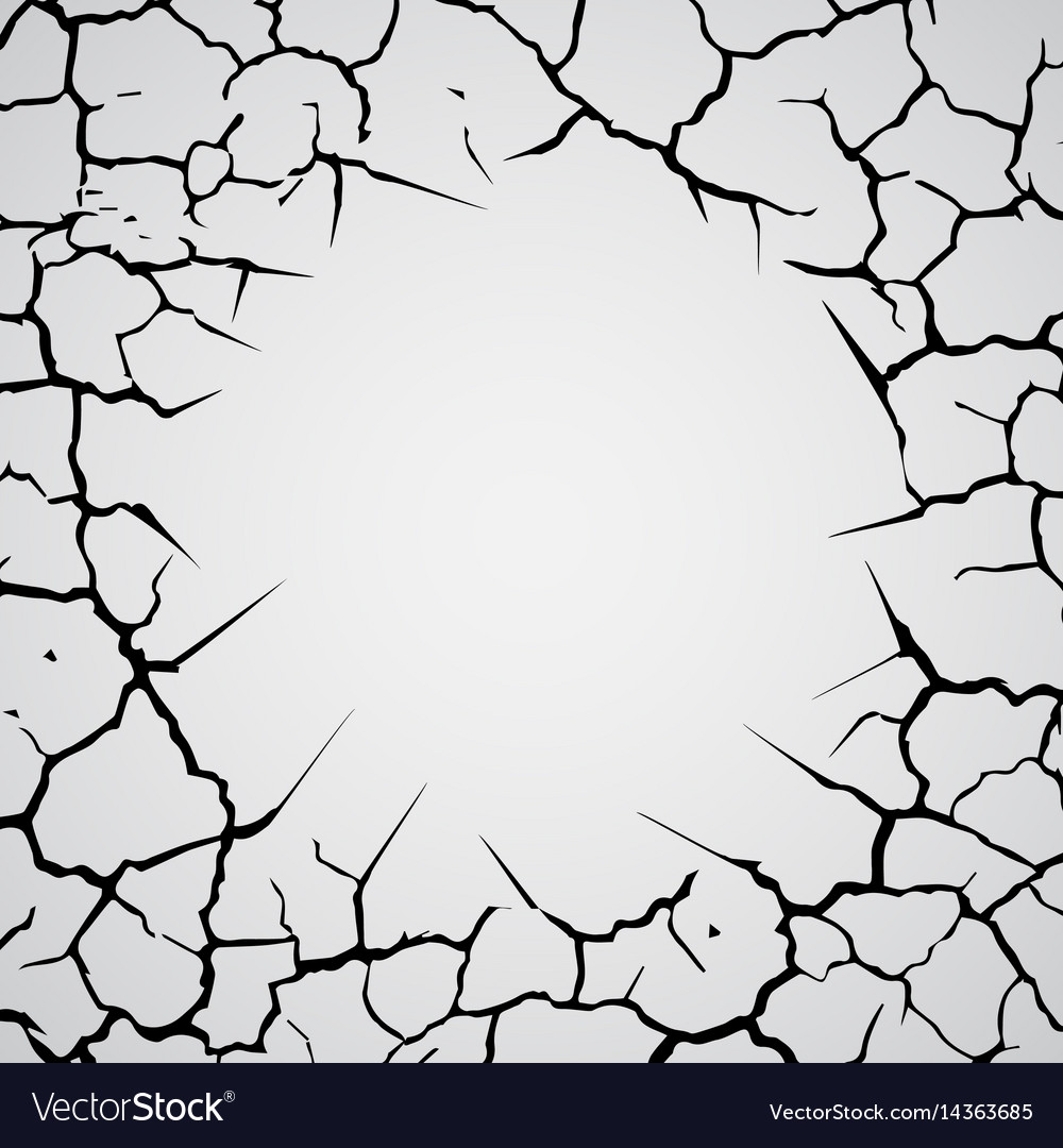Cracks circle in the ground vector image