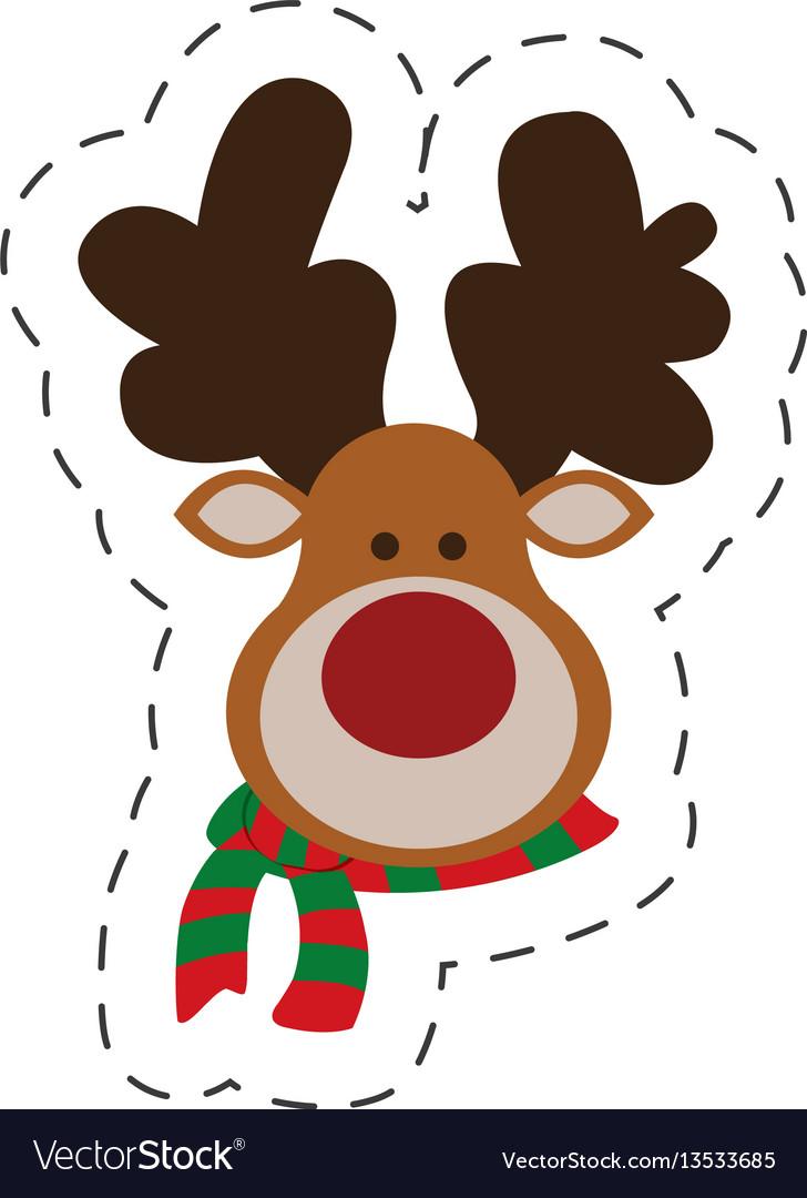 Cute portrait reindeer christmas cut line vector image