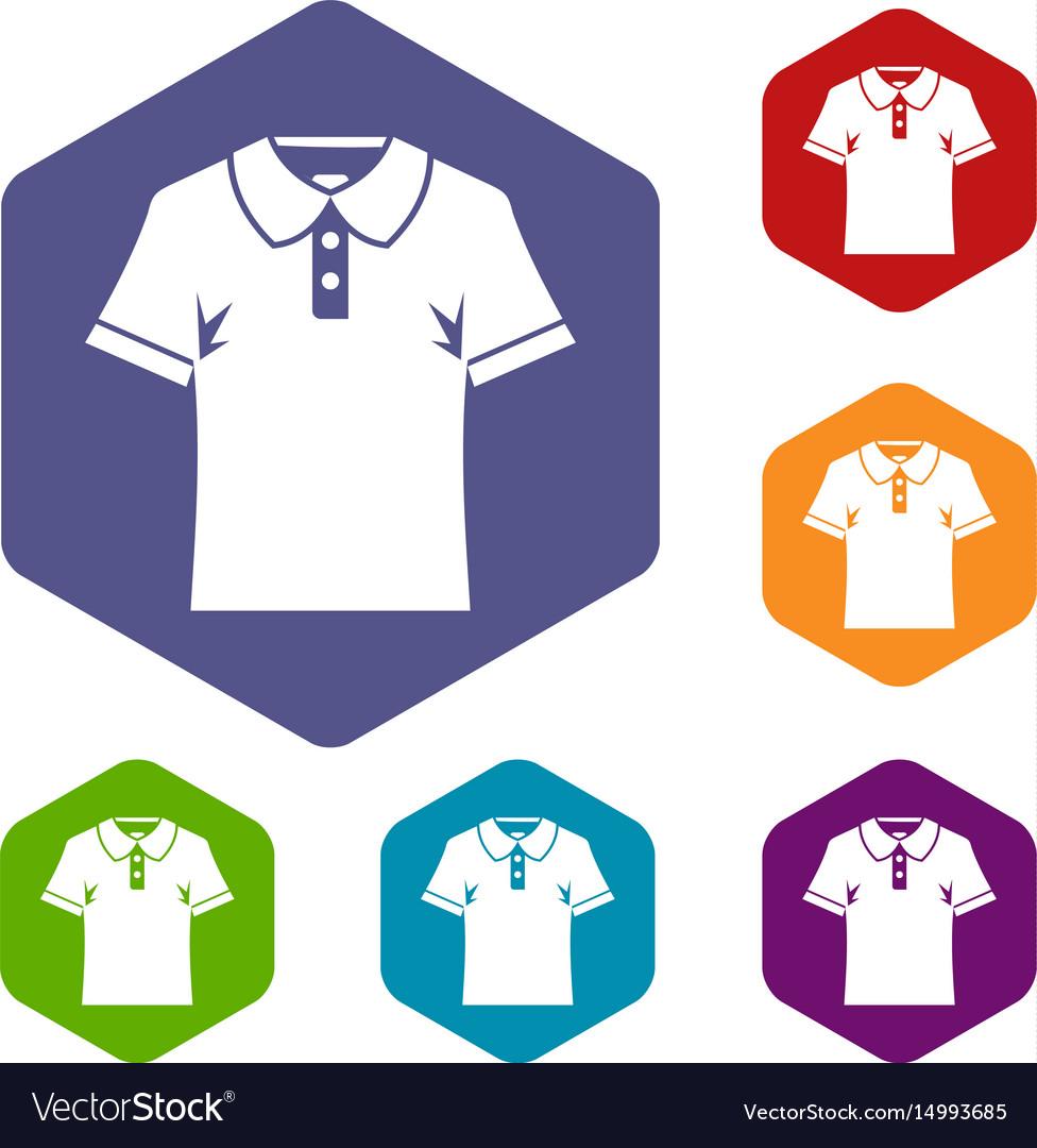 Men polo shirt icons set hexagon vector image