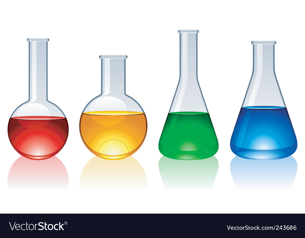 Glass flasks vector image