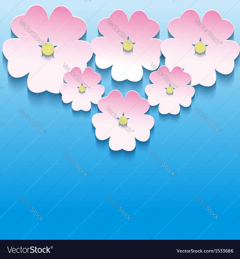 Abstract floral background with 3d flowers sakura vector image