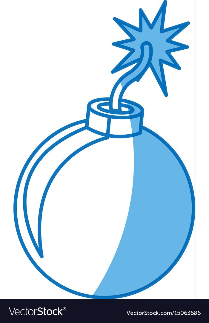 Bomb comic fire danger icon vector image