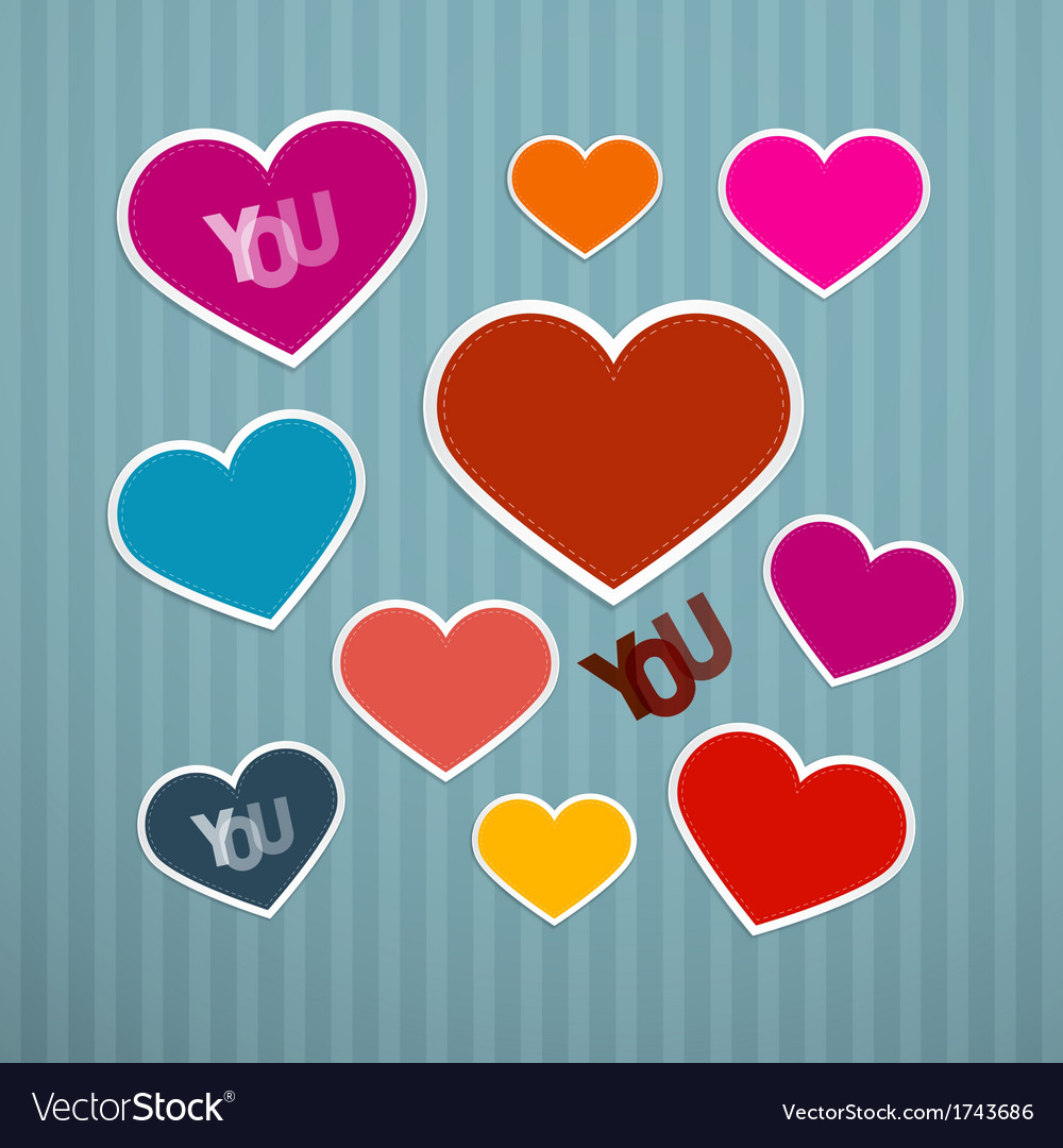 Retro Hearts Background vector image