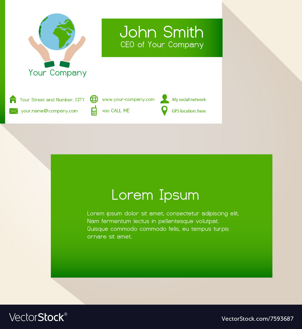 Simple save the planet green business card design Vector Image