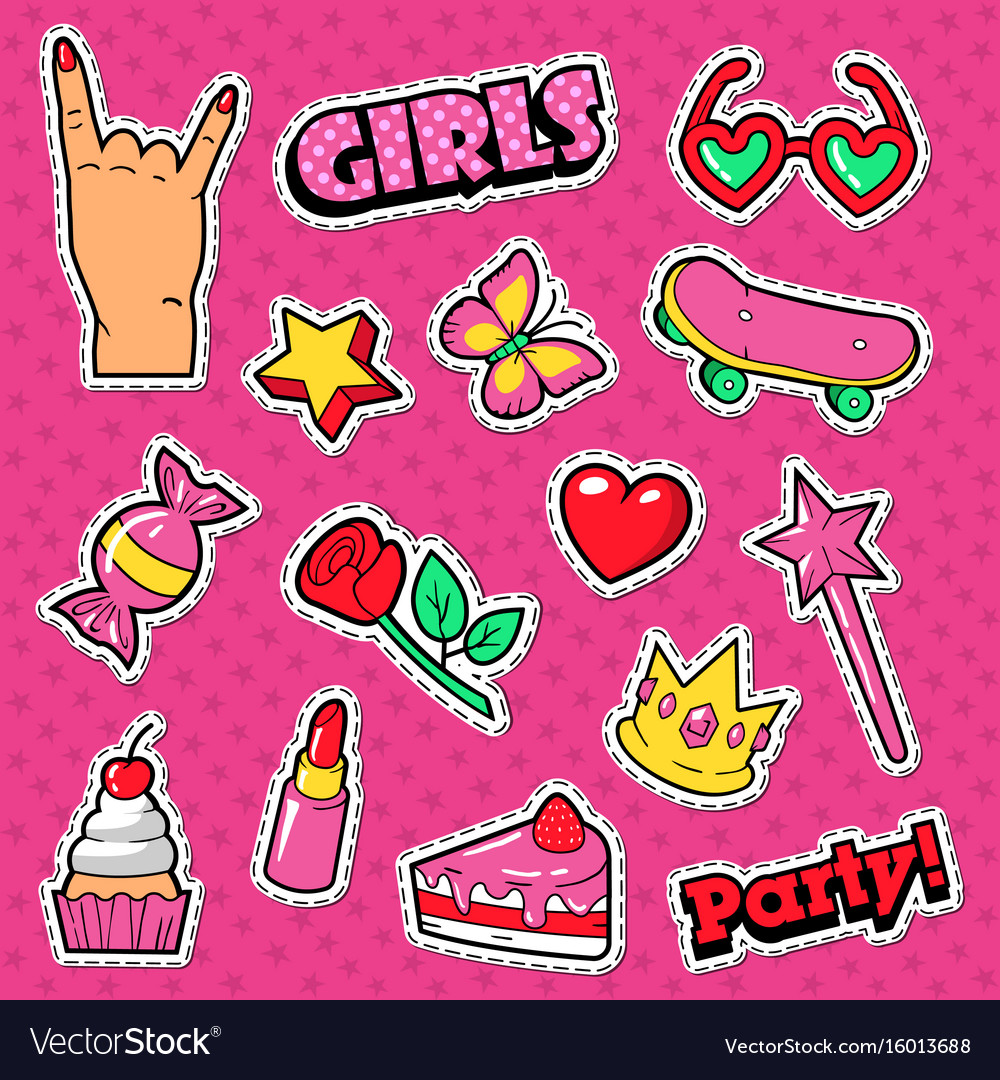 Girls trendy doodle with lipstick cake vector image