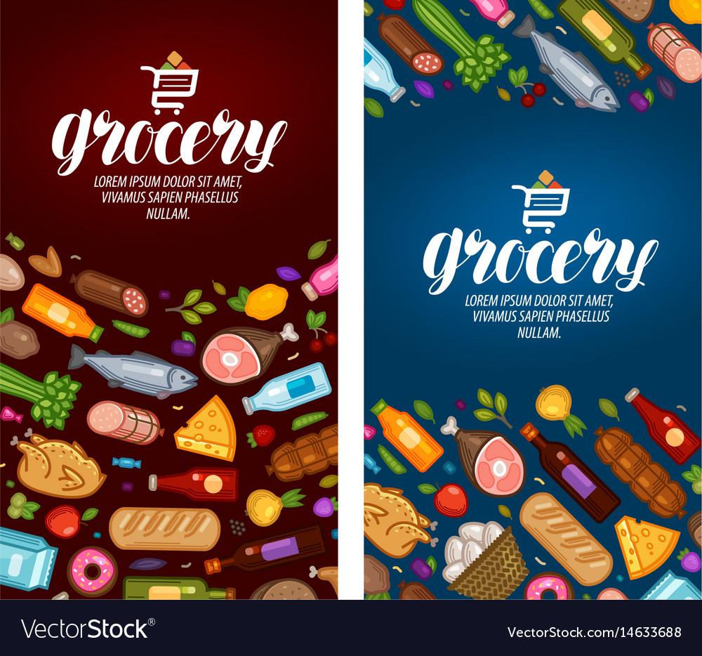 Grocery store label food supermarket banner vector image