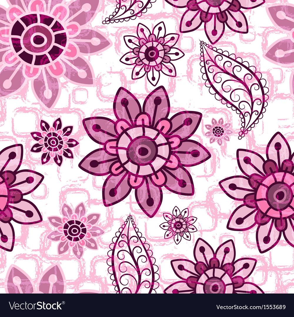 Pink floral seamless grunge pattern vector image