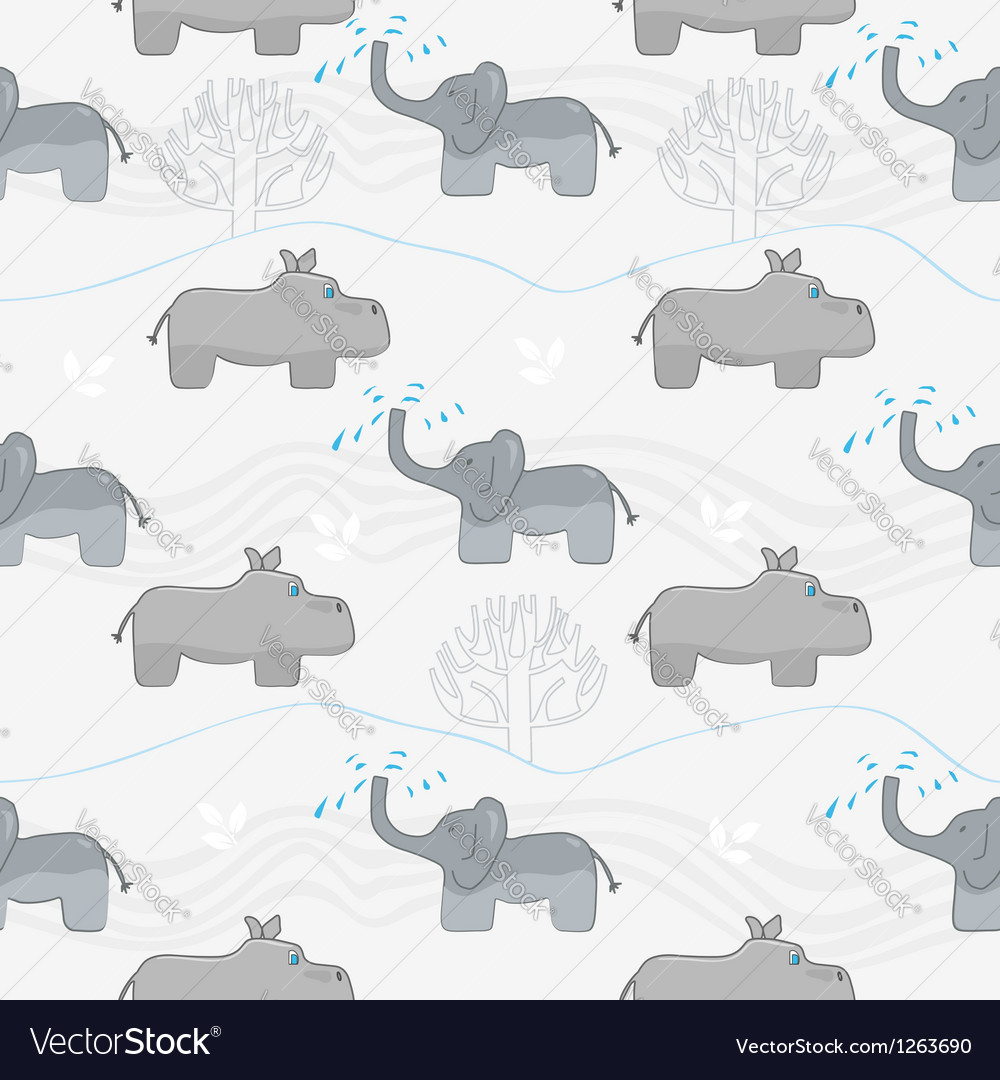 Elephants and hippos vector image