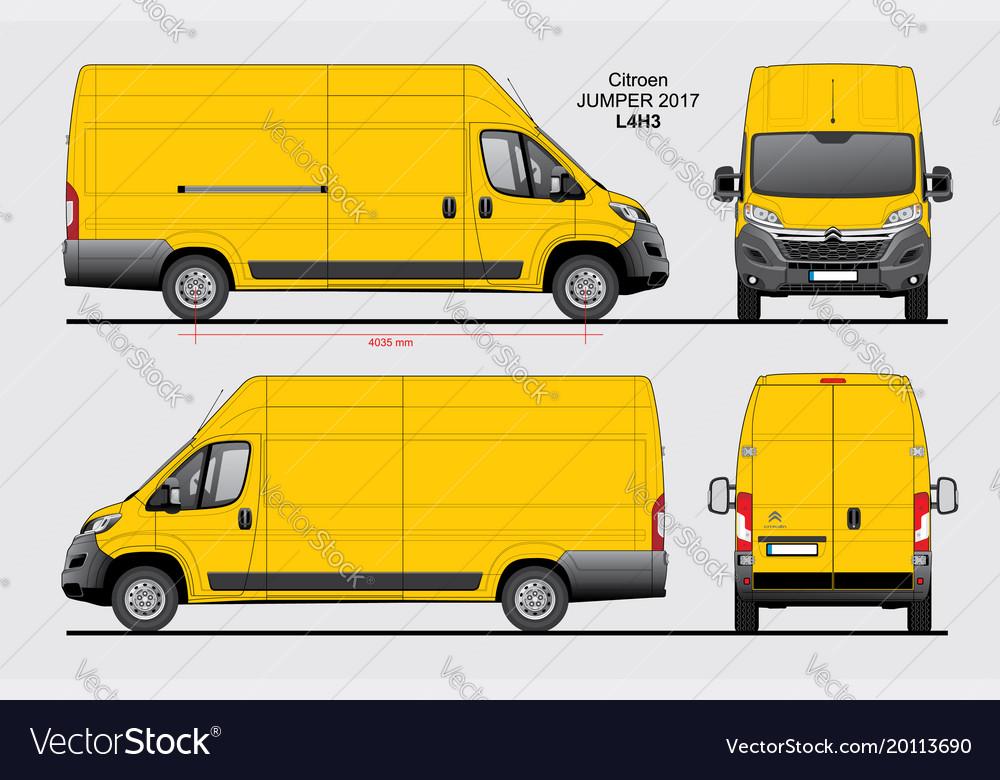 citroen jumper cargo delivery van 2017 l4h3 vector image. Black Bedroom Furniture Sets. Home Design Ideas