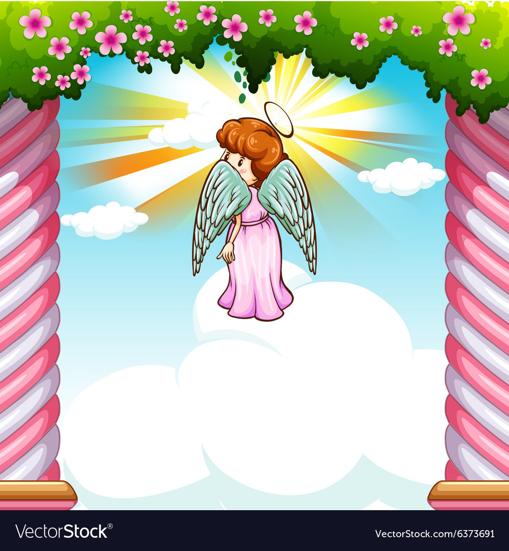 Angel with wings flying in garden vector image