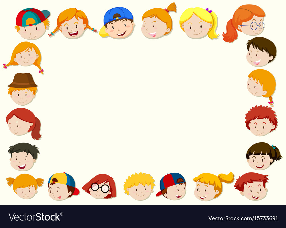 Border template with happy children face Vector Image