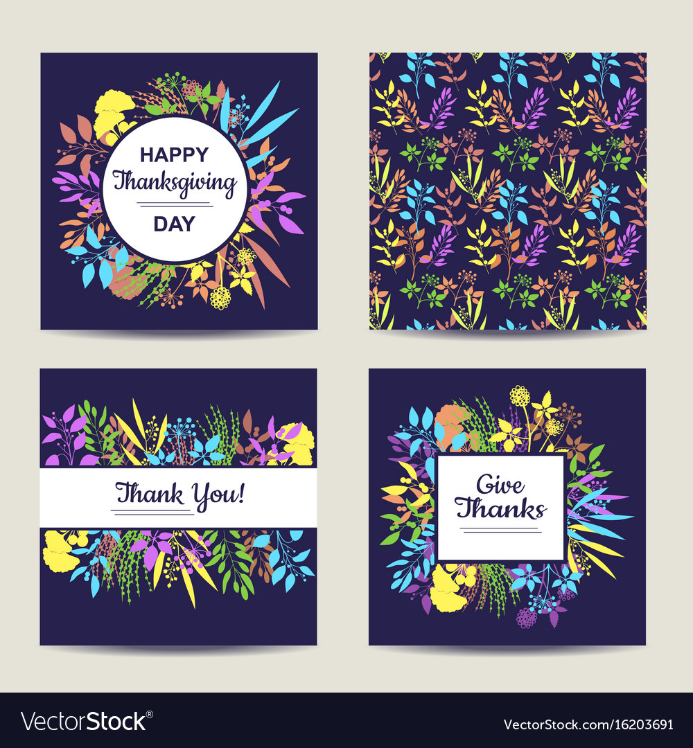 Set of four herbal card template for thanksgiving vector image