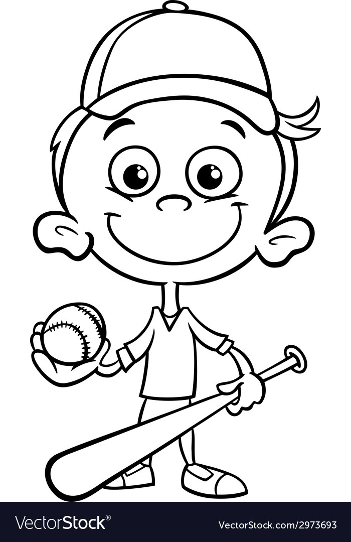 Boy baseball player coloring page royalty free vector for Copyright free coloring pages