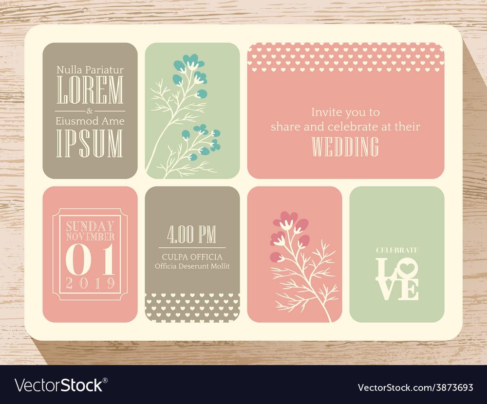 Cute pastel wedding invitation card background vector image stopboris Image collections