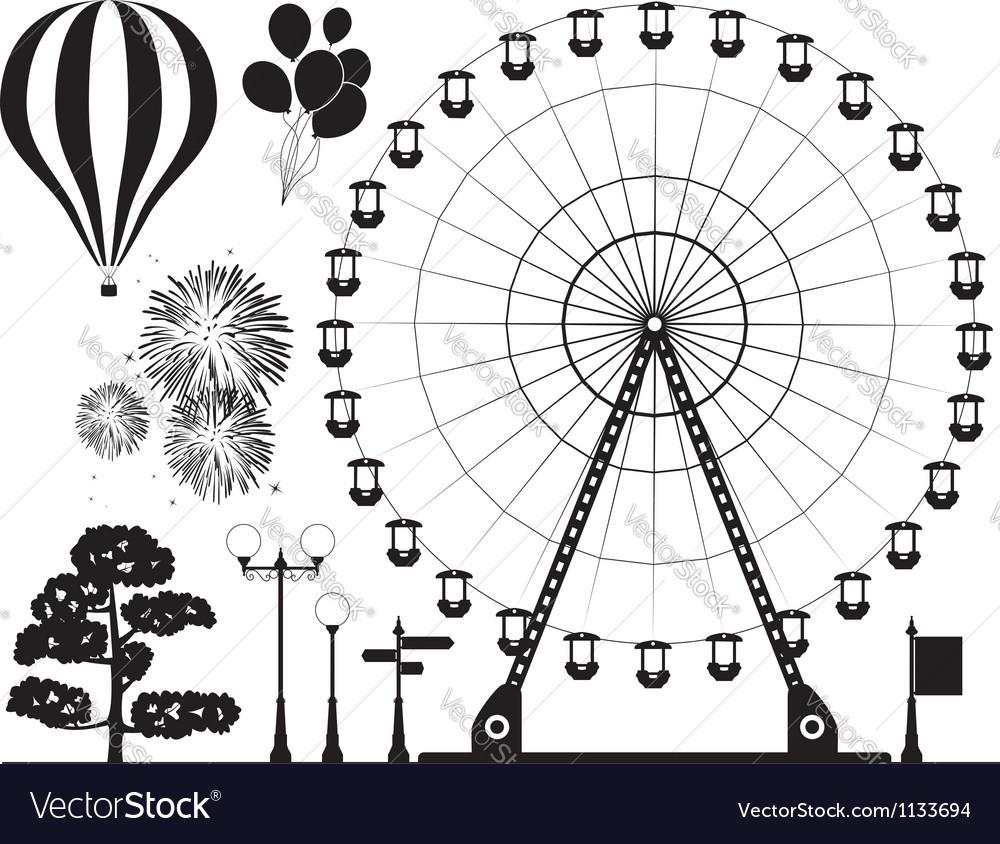 Elements of amusement park vector image
