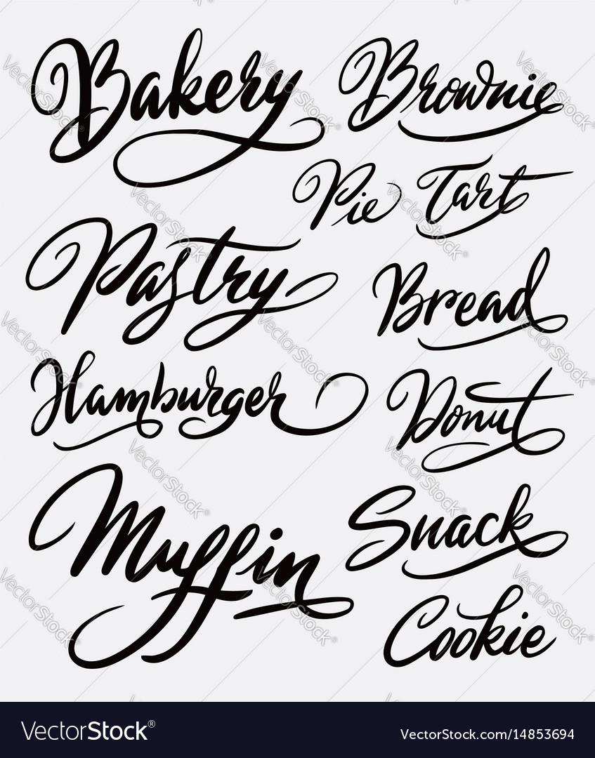 Bakery and hamburger hand written typography vector image