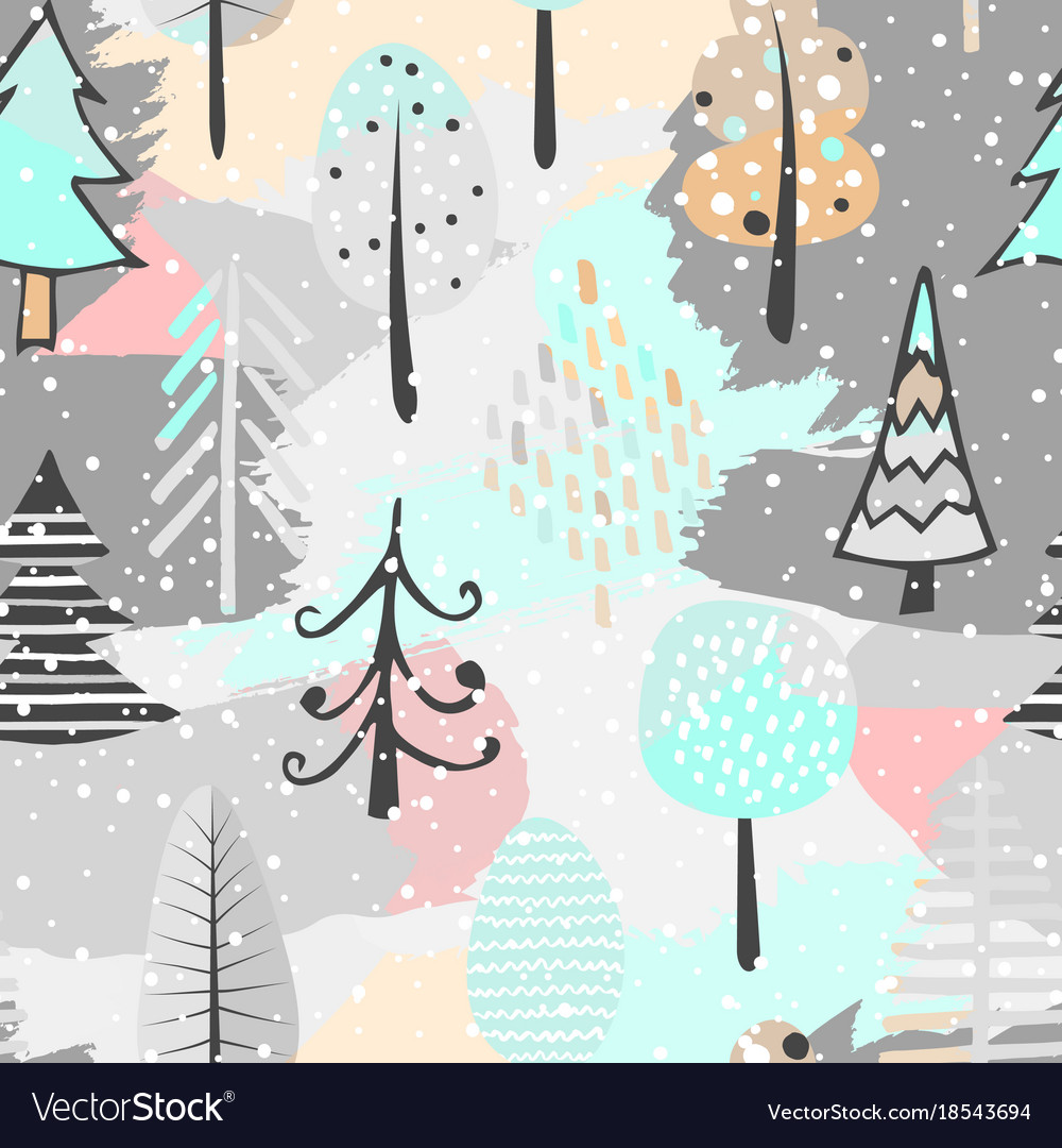 Cute seamless pattern with tree hand drawn vector image
