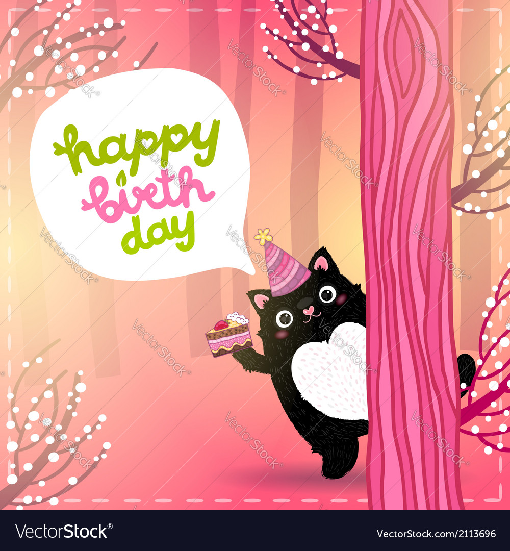 Happy birthday card with a cute fat cat royalty free vector happy birthday card with a cute fat cat vector image bookmarktalkfo Images