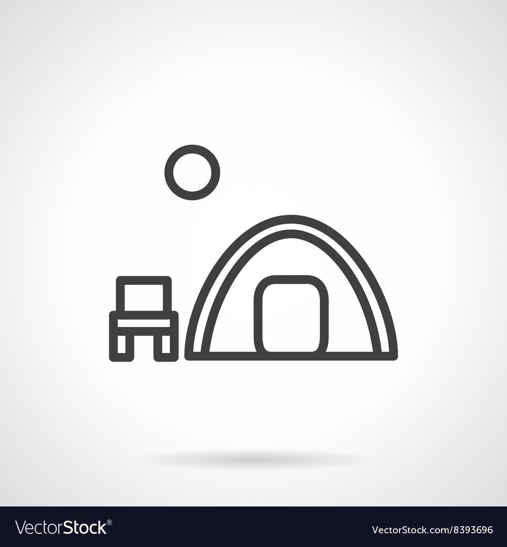 Overnight camp tent black line icon vector image