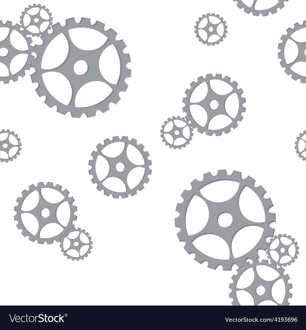 Silver gears pattern vector image