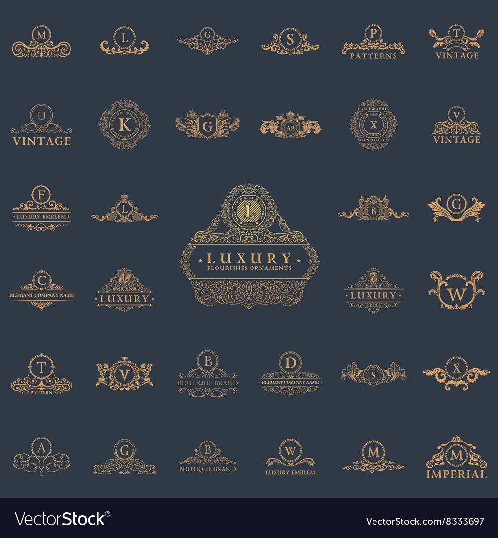 Luxury vintage logos set Calligraphic emblems and vector image