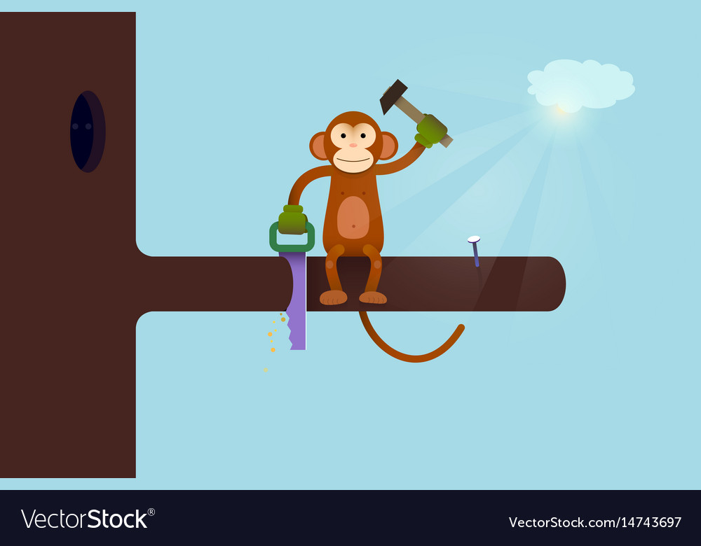 This webpage is under construction concept monkey vector image