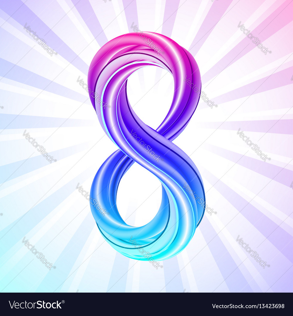 Colorful number eight icon symbol of march 8 vector image
