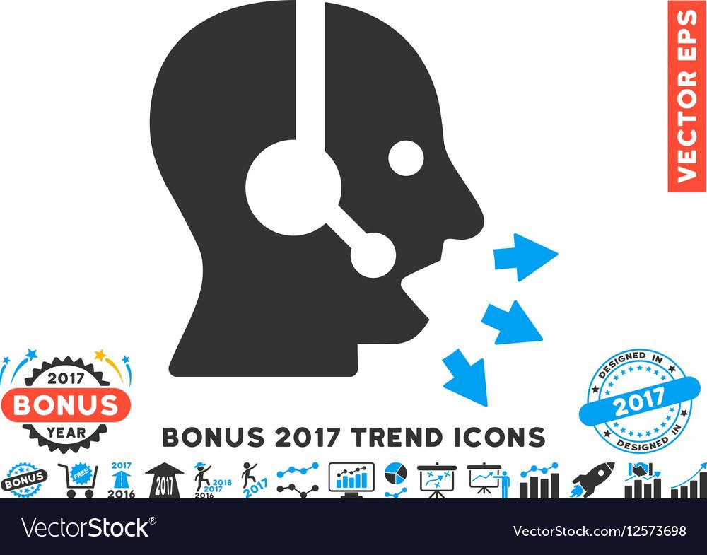 Operator Speak Flat Icon With 2017 Bonus Trend vector image