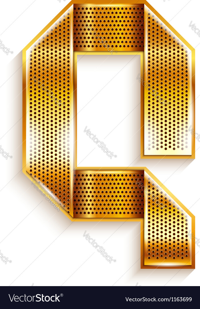 Letter metal gold ribbon - Q Vector Image