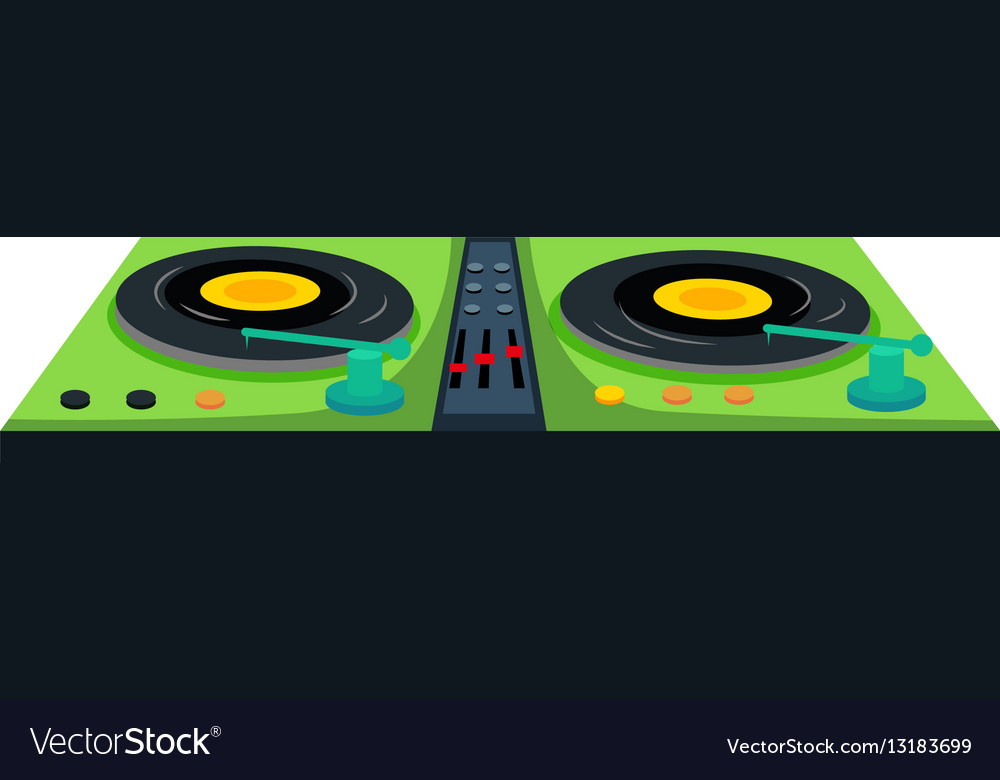 Disc jockey machine with sound control vector image