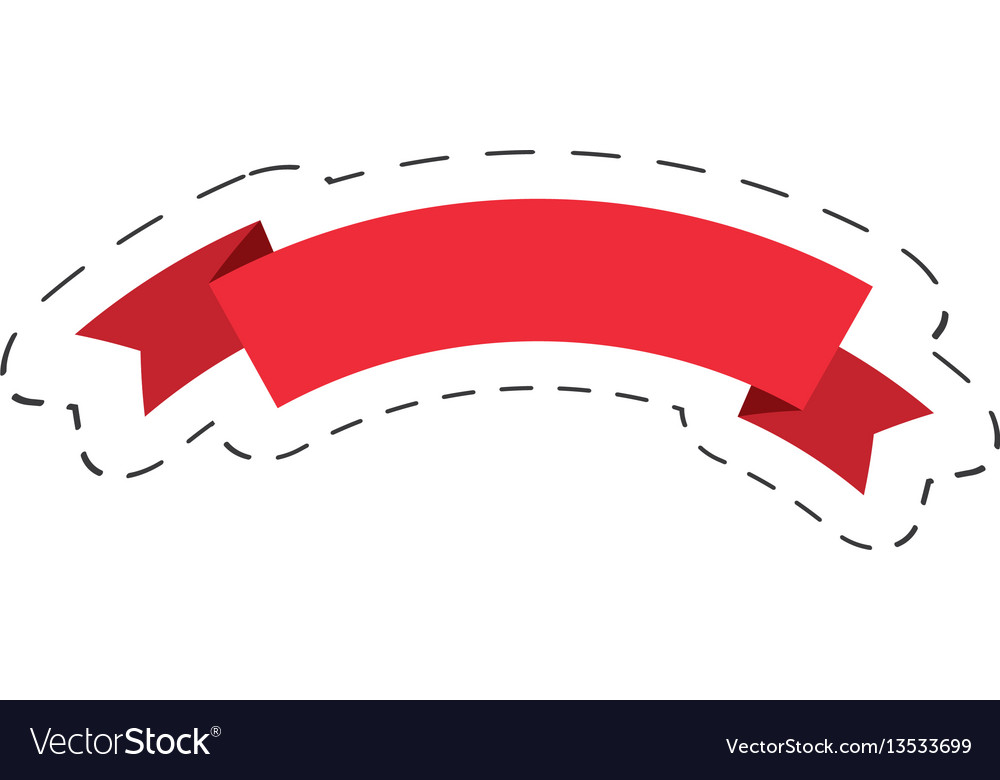 Red ribbon decoration christmas cut line vector image