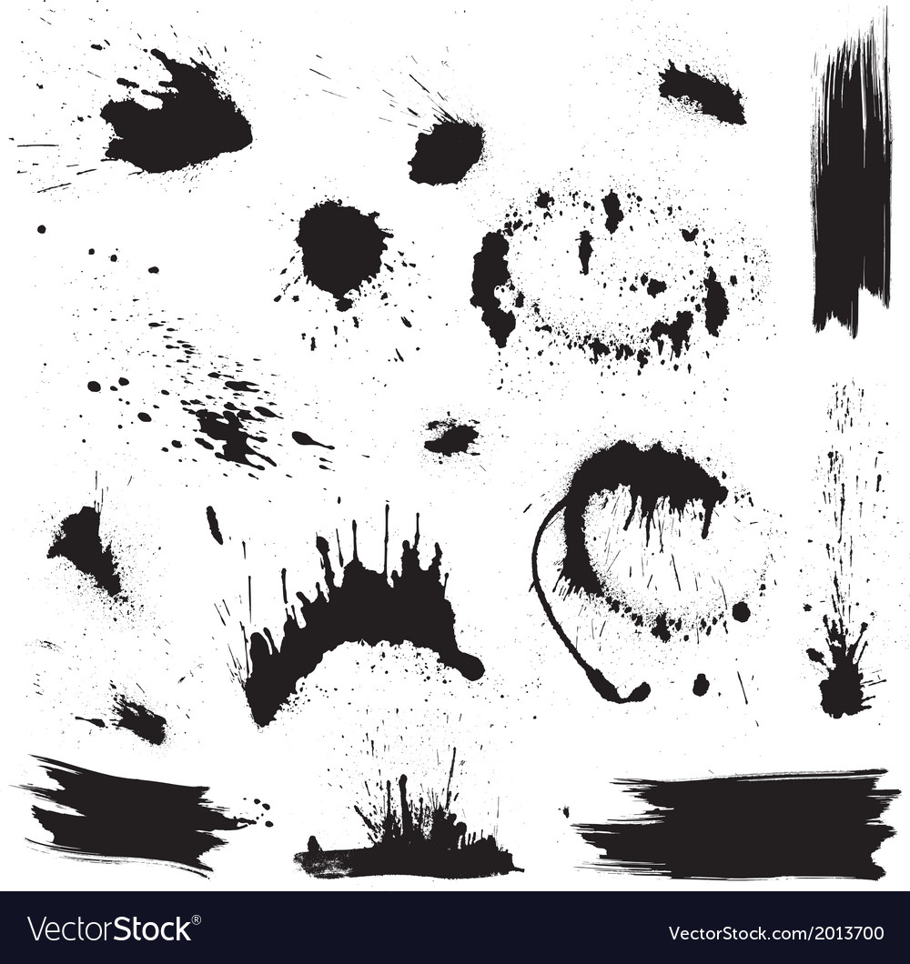 Set of black blots and ink splashes Abstract eleme vector image