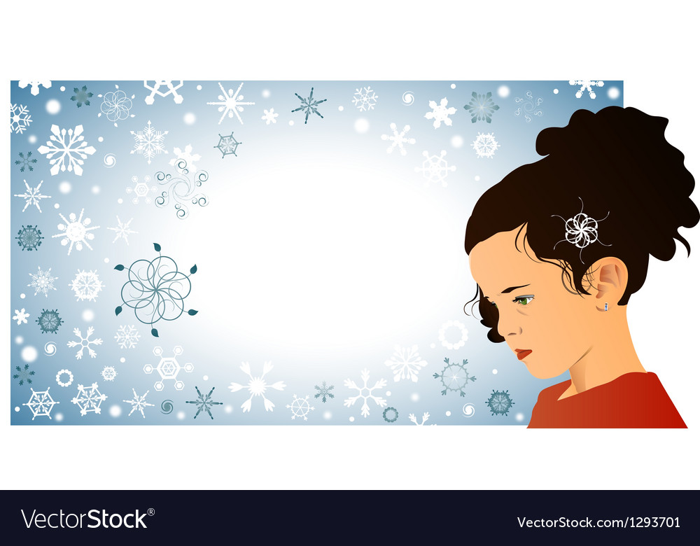 Little girl and snowflakes vector image