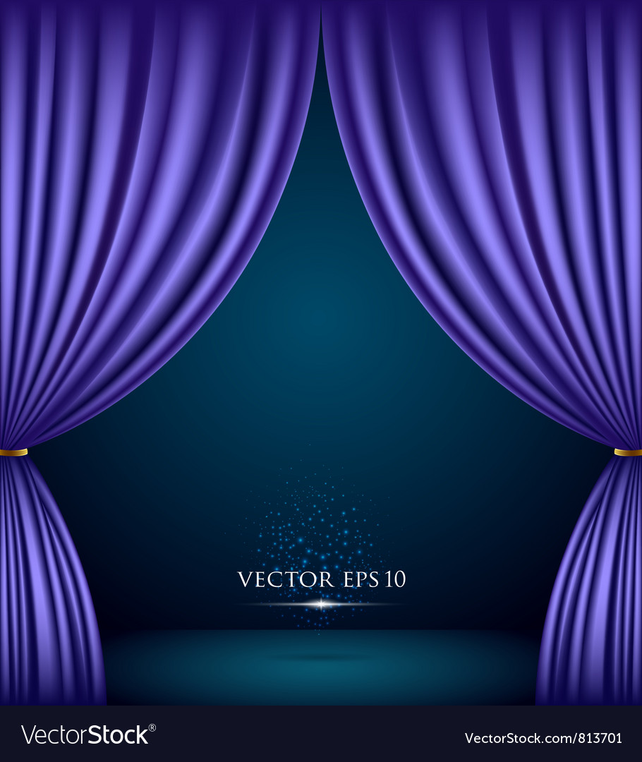 Violet theater curtain background vector image