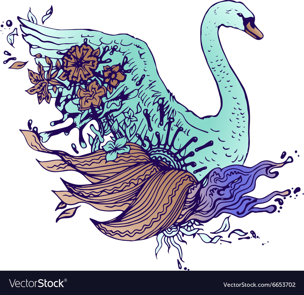 Abstract graphic colored swan print vector image