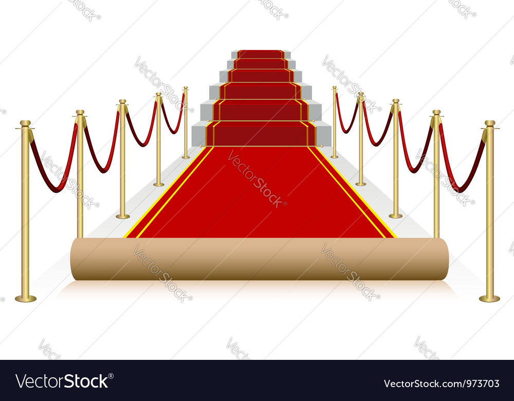 Red carpet isolated on white background vector image